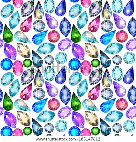 illustration seamless background with glittering precious stones - stock vector