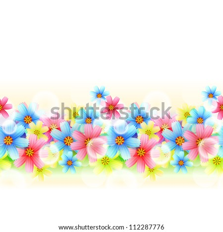 Illustration Seamless beautiful Floral Border  isolated on white