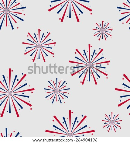 Illustration Seamless Pattern firework for Independence Day of USA, Wallpaper for American Holidays - Vector  - stock vector