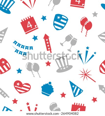 Illustration Seamless Pattern for Independence Day of America, Flat Icons in US National Colors - Vector