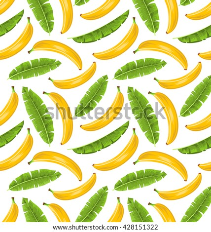 Illustration Seamless Pattern with Banana Leaves and Fruits. Food Background - Vector - stock vector