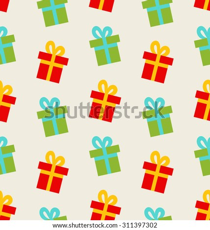 Illustration Seamless Pattern with Colorful Gift Boxes for Celebrate - Vector - stock vector