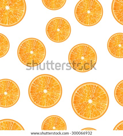 Illustration Seamless Texture with Slices of Oranges, Juicy Background - Vector - stock vector