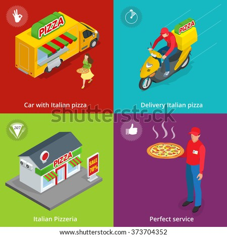 Illustration Set Banners with Italian Pizzeria, Mobile food truck, Car with Italian pizza, Perfect service, Delivery pizza, delivery boy.  Flat 3d isometric pizza consept. - stock vector
