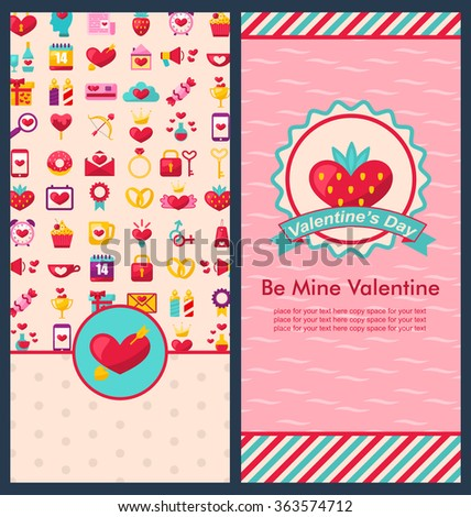 Flyer Template Happy Valentine Day Objects Stock Vector - Celebrate it templates place cards