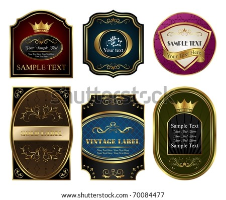 Illustration set colored gold-framed labels - vector - stock vector