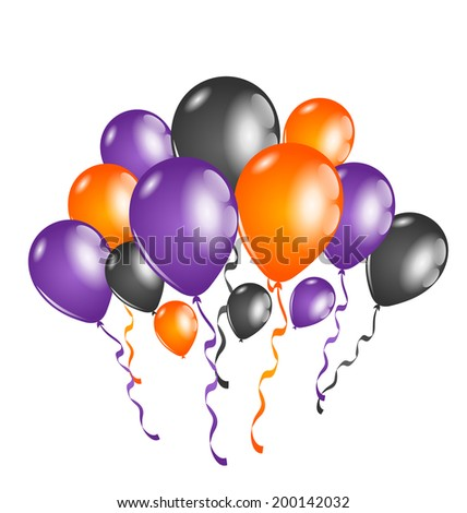 Illustration set colorful balloons for Halloween party - vector