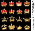 illustration set gold  crowns on black background - stock vector
