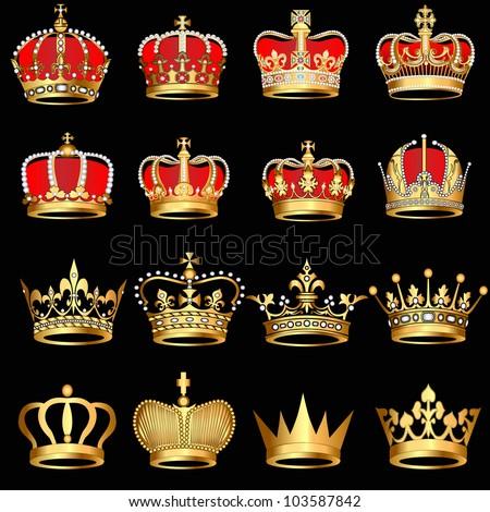 illustration set gold  crowns on black background - stock vector