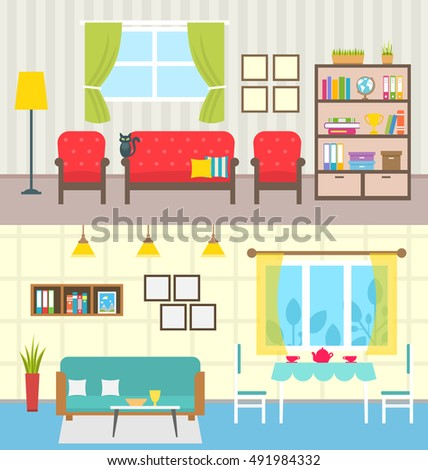 illustration set home interiors design of living rooms collection colorful furniture in flat style