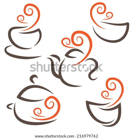 Illustration set icon of cup,teapot,pot,bowls.Vector - stock vector