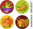 illustration set of a thankgiving icons - stock vector