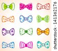 illustration set of colorful bow tie in different colors - stock photo