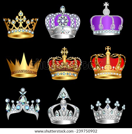 illustration set of crowns with precious stones on a black background - stock vector