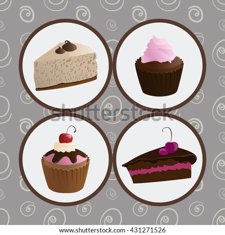 Illustration set of cupcakes and cheesecakes - stock vector