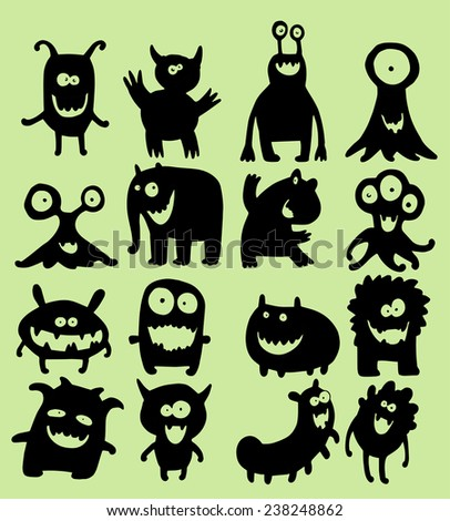 Illustration set of cute little smiling monsters in black silhouettes - stock vector