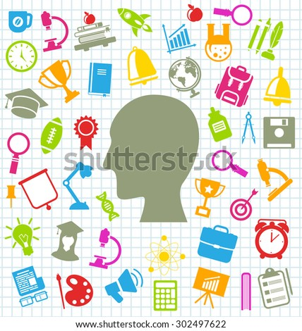 Illustration Set of Education Flat Colorful Simple Icons on School Grid Paper Sheet - Vector - stock vector