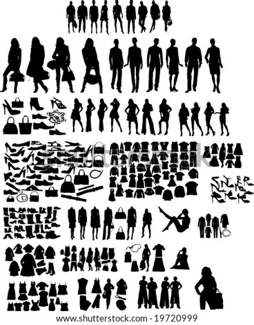 Illustration set of fashion  silhouettes