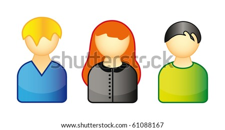 illustration - set of icons representing people isolated over white background - stock vector