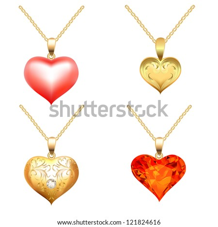 illustration set of pendants with precious stones in the form of heart - stock vector