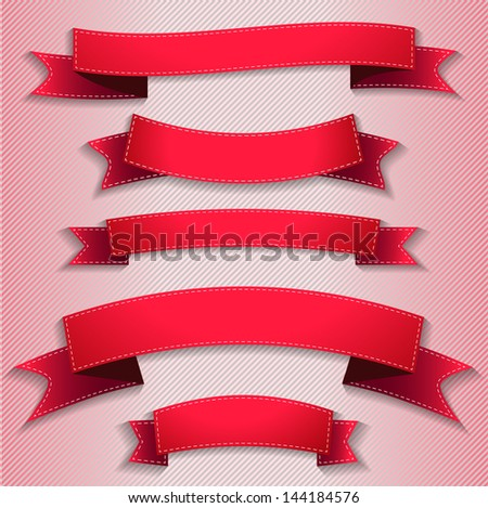 Illustration set of red ribbons flags. Vector. - stock vector