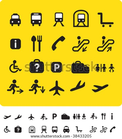 illustration set of various icons found at train and airports - stock vector