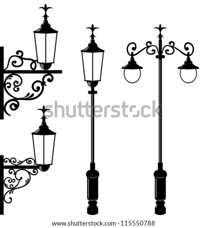 Illustration set of vintage various streetlamp - vector