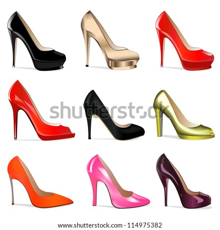 illustration set of women's shoes with heels - stock vector