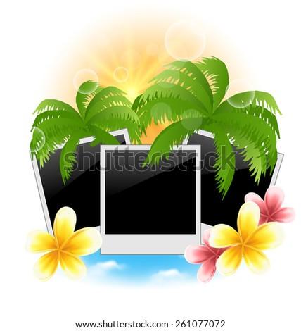 Illustration set photo frame with palms, flowers frangipani, seascape background - vector - stock vector