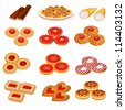 illustration set tasty sand cookies and cake - stock vector