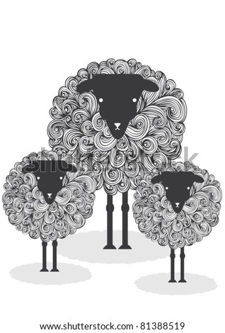 illustration sheep - stock vector