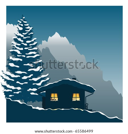 Illustration showing a comfortable ski cottage in the snowy mountains