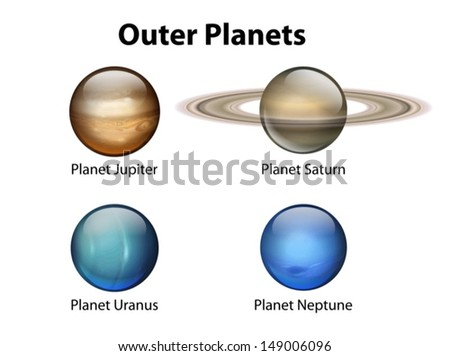 Illustration showing the outer planets - stock vector