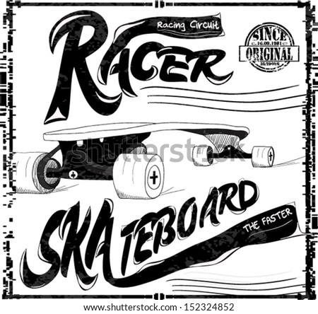 illustration sketch skateboard with type - stock vector