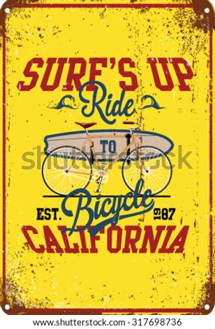 illustration sketch surfer bicycle with type