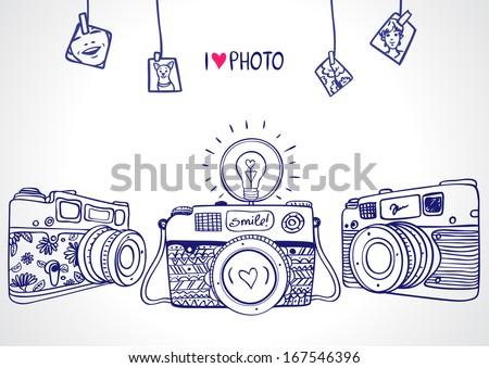 illustration sketch vintage retro photo camera - stock vector