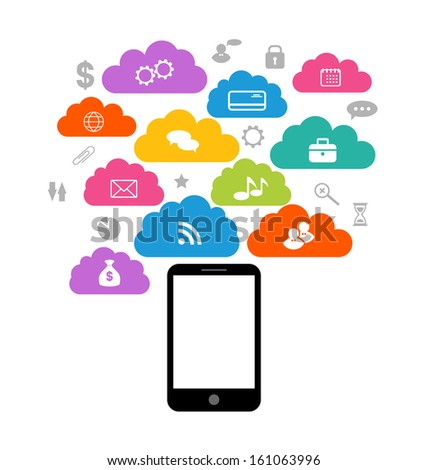 Illustration smart device with cloud of application icons, business infographics elements - vector