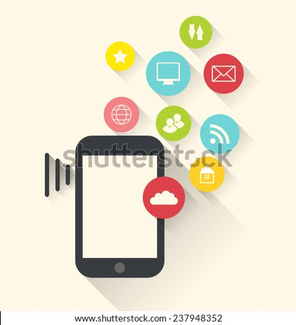 Illustration smart phone device with applications (app) icons, modern flat design - vector - stock vector