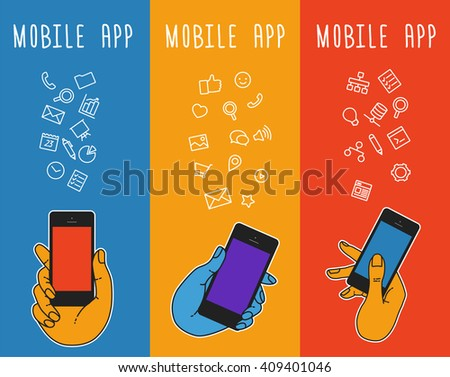 Illustration smartphone for banners, presentations, website. Presentation template of  mobile screen. Cloud tools for business and work. Cloud technology and service for social networking, media - stock vector