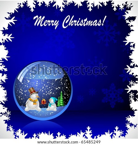 Illustration snow globe with a christmas tree and snowman within. Vector. - stock vector