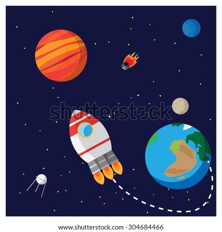 Illustration space.It shows a rocket, planets, Mars, Earth, Neptune, Moon, artificial satellites and a comet and the trajectory of the rocket. Illustration colored flat. - stock vector