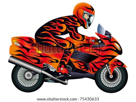 illustration speed motorcycle with person and burning painter - stock vector