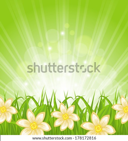 Illustration spring background with green grass and flowers - vector - stock vector