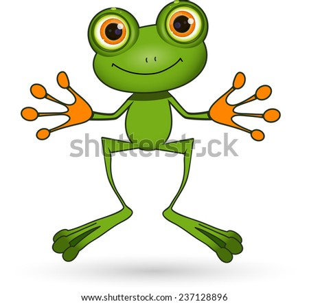 Illustration standing cute green frog with big eyes - stock vector