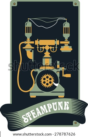 illustration Steam punk kerosene lamp to illuminate the mechanism gear and parts - stock vector