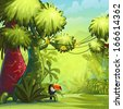Illustration sunny morning in the jungle with bird toucan - stock
