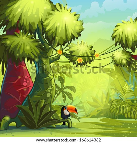 Illustration sunny morning in the jungle with bird toucan - stock vector