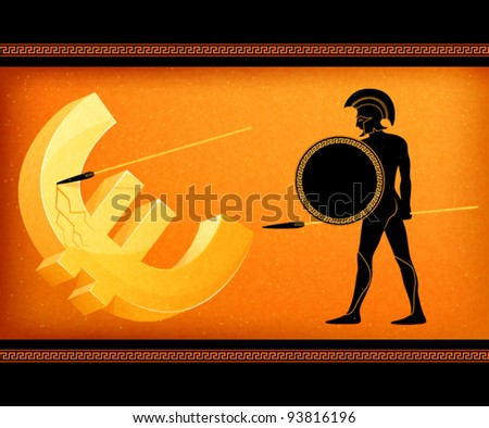 illustration symbolizing economical crisis in the European Union and Greek threat to stability of Euro currency - stock vector