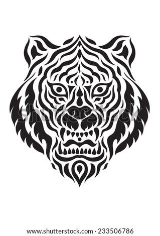 illustration tattoo tiger's head graphic design - stock vector