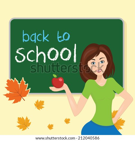Illustration teacher in school class,with school board. With text back to school - stock vector